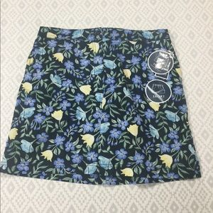 Karen Scott Flowered Skort W/ Knit Shorts Denim